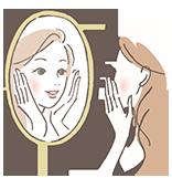 鏡を見ている女性のイラスト